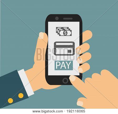 mobile payment credit card, hand holding phone, flat design . Vector illustration eps10