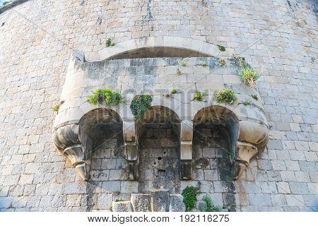 A Large Stone Balcony On The Wall Of The Military Fortress Of Mamula. Montenegro, Boka-kotor Bay.