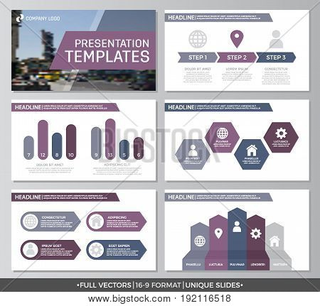 Set of purple elements for multipurpose presentation template slides with graphs and charts. Leaflet, corporate report, marketing, advertising, annual report, book cover design.