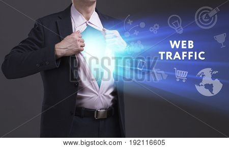 Business, Technology, Internet And Network Concept. Young Businessman Shows The Word: Web Traffic