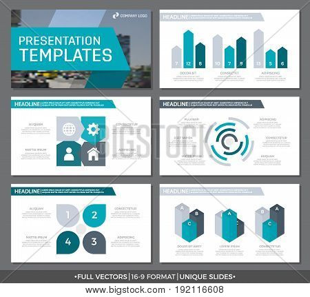 Set of turquoise and gray elements for multipurpose presentation template slides with graphs and charts. Leaflet, corporate report, marketing, advertising, annual report, book cover design.