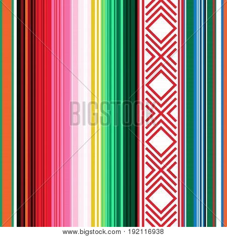 Mexican Seamless Pattern. Striped Texture With Ornament For Plaid, Blanket, Carpet . Background For