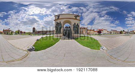 360 panorama of the Arch of Triumph (Arcul de Triumf) in Reconciliation Park (Parcul Reconcilierii) in Arad, Romania