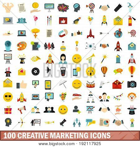 100 creative marketing icons set in flat style for any design vector illustration