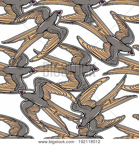 Flying swallows vintage vector seamless pattern. Swallow trendy stylish texture. Repeating tile, artwork for print and textiles. Isolated vector illustration.