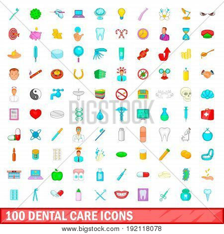 100 dental care icons set in cartoon style for any design vector illustration