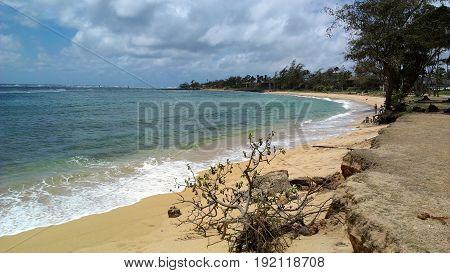 Coastal Beach near downtown in Kapaa, Kauai Hawai'i