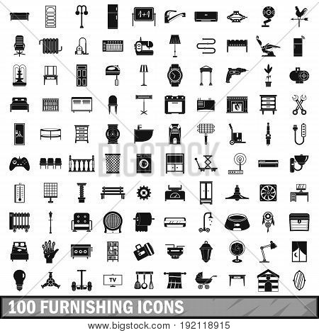 100 furnishing icons set in simple style for any design vector illustration