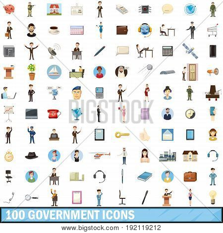 100 government icons set in cartoon style for any design vector illustration