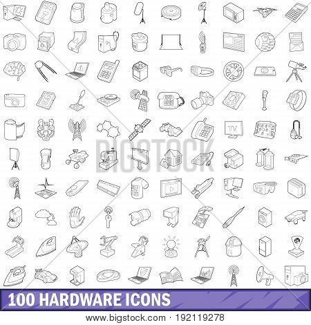 100 hardware icons set in outline style for any design vector illustration