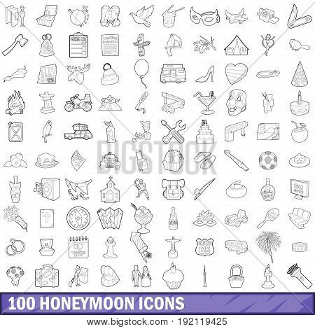 100 honeymoon icons set in outline style for any design vector illustration