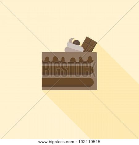 Chocolate layer cake with chocolate bar and cream, flat design with long shadow