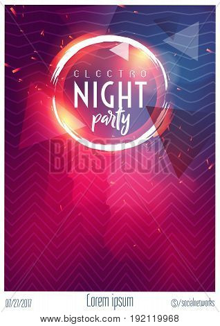 Vector Dance Club Night Summer Party Flyer Brochure Layout Template