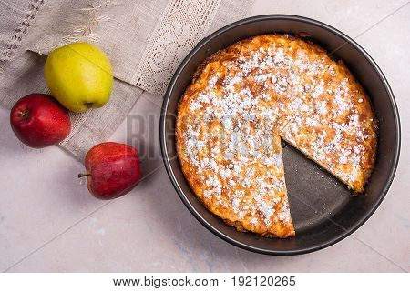 Apple Pie With Fresh Fruits On Light Marble Background