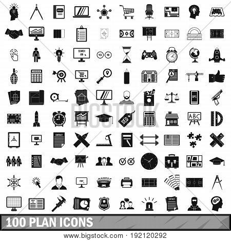 100 plan icons set in simple style for any design vector illustration
