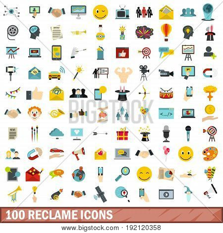 100 reclame icons set in flat style for any design vector illustration