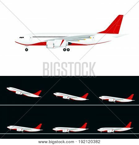 Airplane In Colored Tail Set Flight With Two Motors Illustration