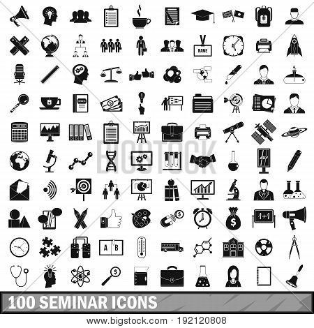 100 seminar icons set in simple style for any design vector illustration