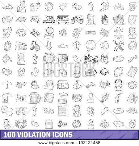 100 violation icons set in outline style for any design vector illustration