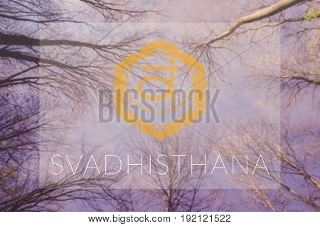Svadhisthana chakra symbol. Poster for yoga class with sky view.