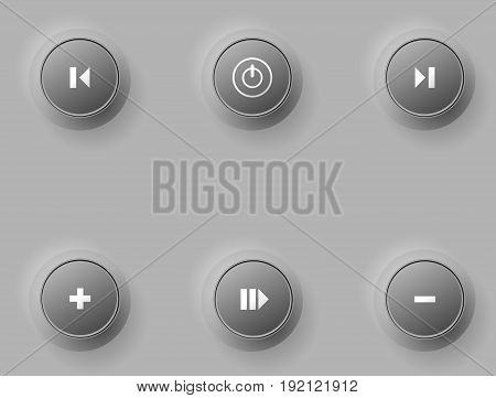 Volume Button, Sound Control, Music Knob With Texture And Scale