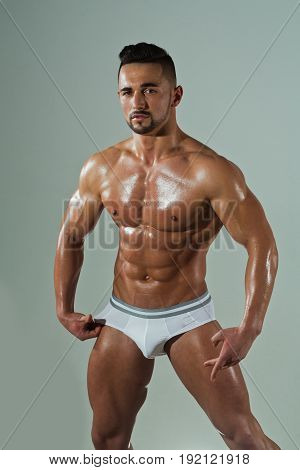 Bodybuilder With Muscular Body In Underwear Pants