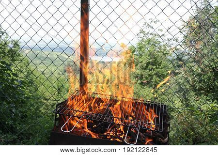 Unwanted flame on grill engulfed the fence