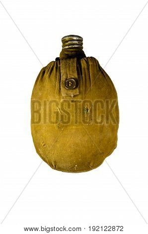 Army Flask In Rag Cover Isolated On White Background