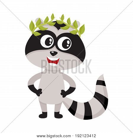 Cute little raccoon character, champion, winner standing in laurel wreath, cartoon vector illustration isolated on white background. Little baby raccoon animal champion in bay leaf wreath