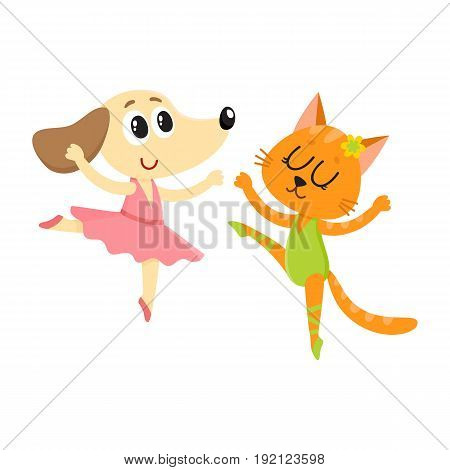 Cute little dog and cat, puppy and kitten characters dancing ballet together, cartoon vector illustration isolated on white background. Little puppy and kitten, cat and dog ballet dancers, ballerinas