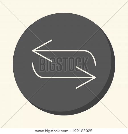 Reverse arrow movement vector round line icon with the illusion of volume simple color change