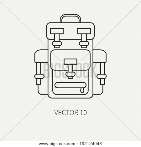 Line flat vector hunt and camping icon - backpack. Hunter equipment, armament. Retro cartoon style. Wildlife travel. Camouflage. Forest. Nature. Illustration and element for your design, wallpaper.