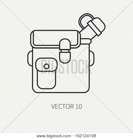 Line flat vector hunt and camping icon jar, bottle. Hunter equipment, armament. Retro cartoon style. Wildlife travel. Camouflage. Forest. Nature. Illustration and element for your design, wallpaper.