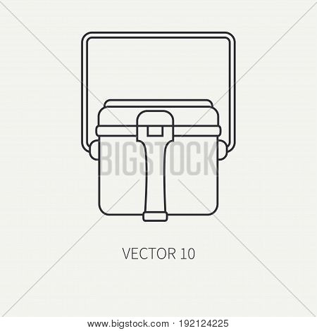 Line flat vector hunt and camping icon - kettle. Hunter equipment, armament. Retro cartoon style. Wildlife travel. Camouflage. Forest. Food. Nature. Illustration and element for your design, wallpaper
