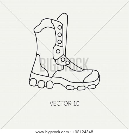 Line flat vector hunt and camping icon - ankle, boots. Hunter equipment, armament. Retro cartoon style. Wildlife travel. Camouflage. Forest. Nature. Illustration and element for design, wallpaper