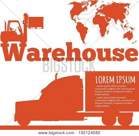 Warehouse banner with forklift truck silhouette vector illustration. Cargo logistics and delivery transportation. Yellow forklift truck with box, storehouse building, local or global shipment.