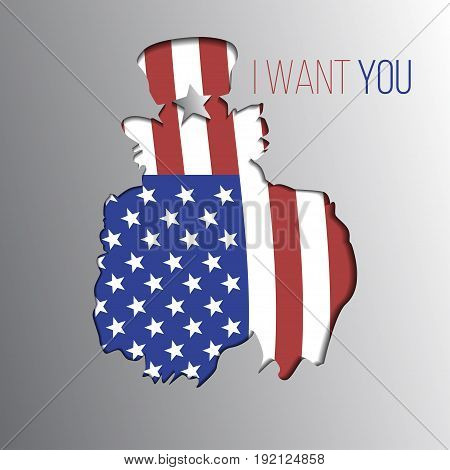 Uncle Sam want you silhouette. Independence day. Vector illustration