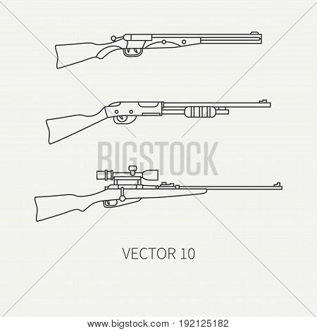 Line flat vector hunt and camping icon shotgun, rifle. Hunter equipment, armament. Retro cartoon style. Wildlife travel. Camouflage. Forest. Nature. Illustration and element for your design, wallpaper