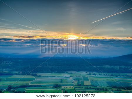 Sundawn Over The Franconian Suisse In Bavaria In South Germany