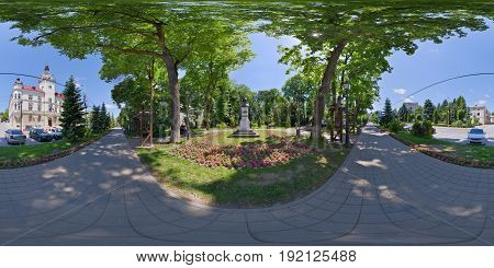 SUCEAVA, ROMANIA - June 3: 360 panorama shot in front of the Statue of Ciprian Porumbescu in Central Park (Parcul Central) in Suceava, Romania