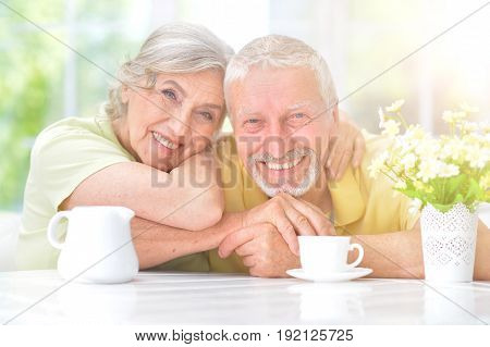 Portrait of happy senior couple sitting at kitchen