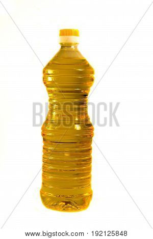 Bottle of sunflower oil isolated on the white background