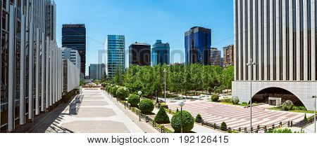 Business park in Madrid Spain. Square business