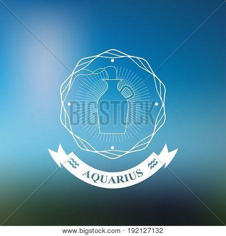 Aquarius Zodiac sign, Horoscope, tattoo, vintage badge, vector illustration