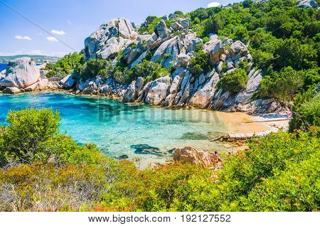 Cute bay surrounded by sand rocks near Porto Rafael, Palau, Sardinia, Italy.