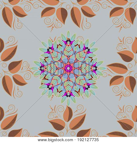 Floral seamless pattern with bright summer leaves in colors. Endless vector texture for romantic design decoration greeting cards posters wrapping for textile print and fabric.