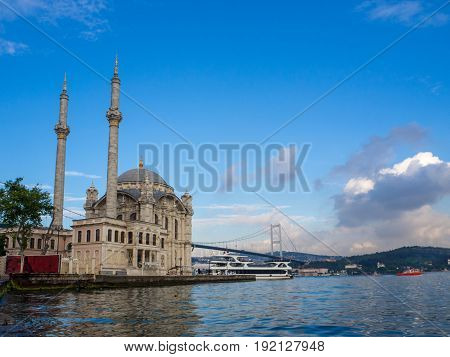 Ortaköy Mosque and Bosphorus bridge in Istanbul Turkey