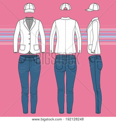 Womens clothing set. Blank template of classic blazer, jeans and cap in front, back and side views. Casual style. Vector illustration on the striped background for your fashion design.