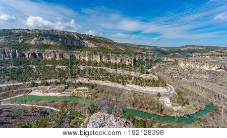Wide angle view of Huecar gorge in Cuenca, Castilla la Mancha, Spain