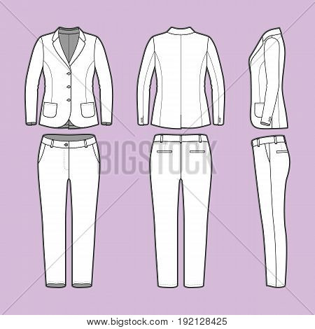 Womens clothing set. Blank template of classic blazer and pants in front, back and side views. Casual style. Workwear suit. Vector illustration for your fashion design.